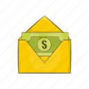 banknote, cartoon, dollar, envelope, mail, money, paper icon