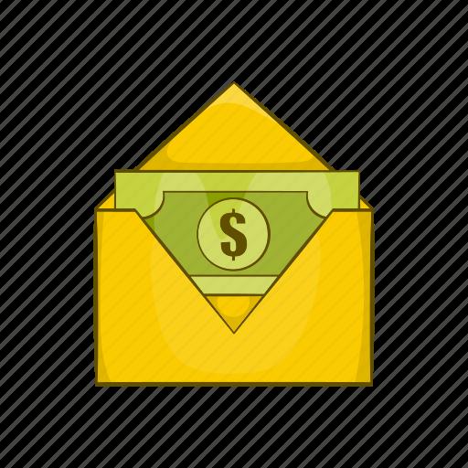 banknote, cartoon, dollar, envelope, mail, money, paper icon