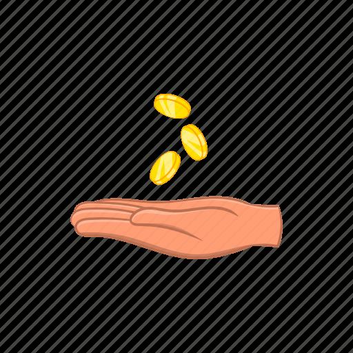 business, cartoon, cash, coin, finance, hand, money icon