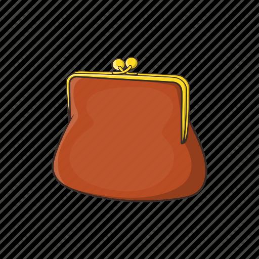 accessory, brown, cartoon, finance, money, purse, wallet icon