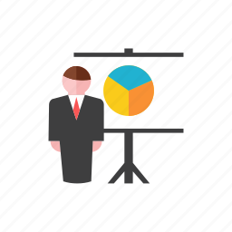 businessman, chart icon