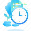 finance, investment, time, tree icon