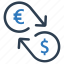 conversion, currency conversion, dollar, euro, money conversion icon