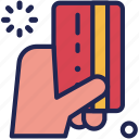 card, credit, debit, finance, hand, pay, payment icon