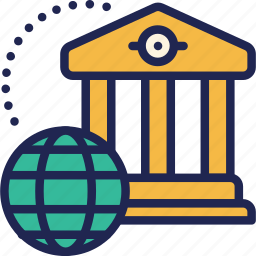 bank, finance, financial, global, institution, international, world icon