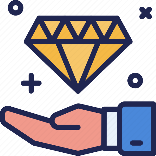 business, collect, diamond, finance, hand, income, receive icon