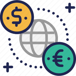 currency, dollar, euro, exchange, global, international, world icon