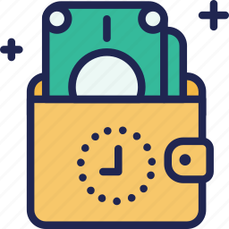 back, business, cash, finance, money, time, wallet icon