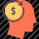 brain money, business mind, cash, dollar human, human mind, market place, shareholder icon