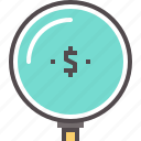 cash, circle money, dollar, funds, money search, search icon