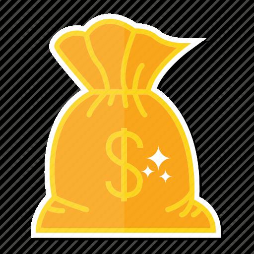 dollar, money, sack icon