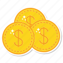 coins, currency, dollar, gold, money icon