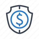 business, cash, finance, money, protection, shield icon