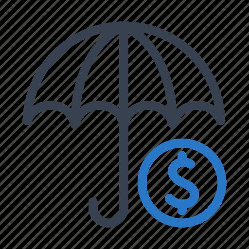 cash, finance, money, profit, protection, umbrella icon