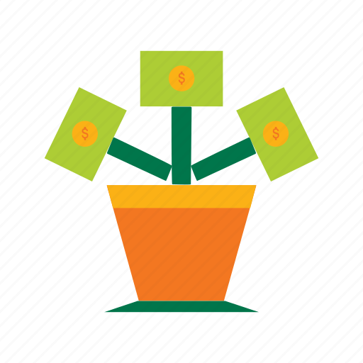 care, flat icon, investments, money, plant, return, savings icon