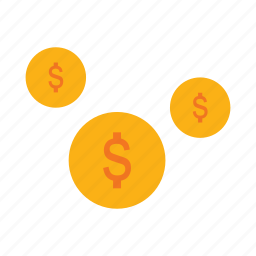 business, coins, currency, dollar, flat icon, money icon