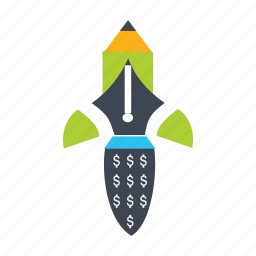boost, dollar, flat icon, hike, rise, rocket, upgrade icon