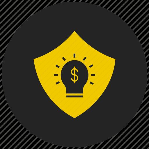 dollar, financial ideas, innovation, money, sheild, thought icon