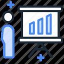 marketing, marketing people, presentation, promotion, sales, speaker, statistics icon