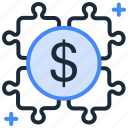 dollar, growth, money, money value, puzzle, solotion icon