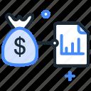 analytics, business, finance, money bag, planning, statistics icon