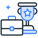 business leader, finance, finance leader, stock bagger, stock price, suitcase and trophy icon