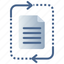 contract, data, document, file processing, recycle, update icon