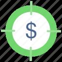 aim, cash, focus, goal, money, target icon