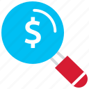 dollar, finance, money, payment, search icon