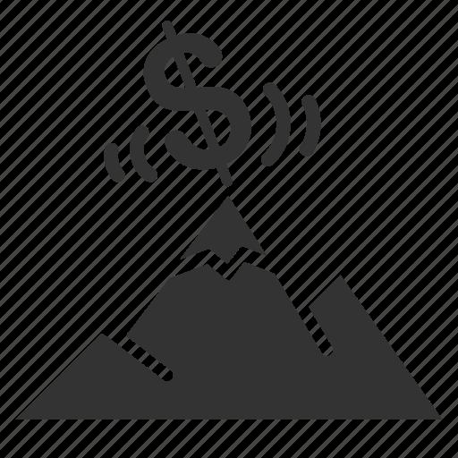 crisis, economic, economy, financial, financial cliff, financial peak, risk icon