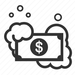 cash, clean up, cleaning, financial, ill-gotten gains, launder, money icon