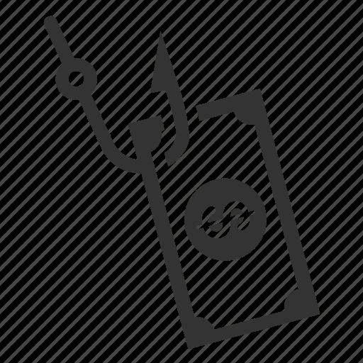 bait, cod, hook, illegal, phishing, pseudo, trick icon