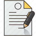 agreement, contract, document, form, signature icon