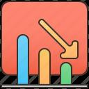 business, decrease, downtrend, loss, marketing icon