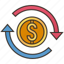 asset, exchange, money, return, revenue icon