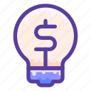 bulb, idea, inspiration, light, money