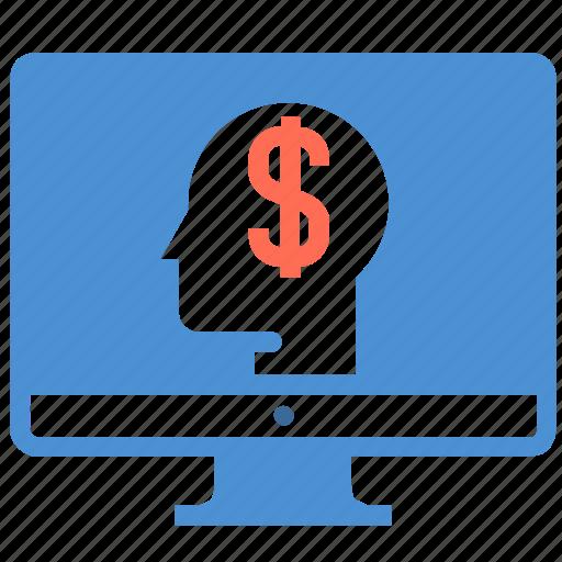 computer, dollar, financial, idea, investor, money, person icon