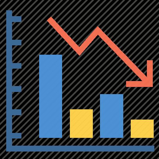 business, decrease, decreasing, graph, line chart, loss, statistics icon
