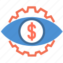currency, dollar, eye, finance, money, surveillance, watching icon