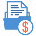 bill, document, file, finance, folder, infomation, money icon