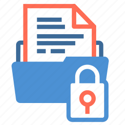 document, file, file folder, folder, infomation, lock, storage icon