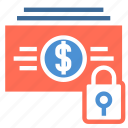 bill, cash, dollar, finance, lock, money, spending icon