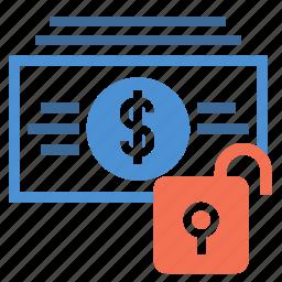 bill, cash, dollar, finance, money, spending, unlock icon