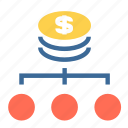 branch, cash, dollars, finance, financial, money, strategy icon