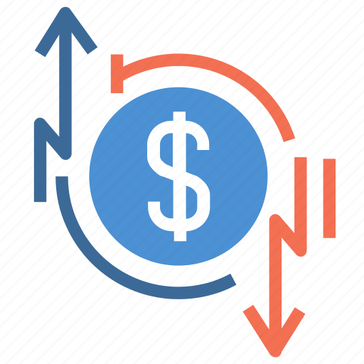 charge, circulation, dollar, down, financial, money, up icon