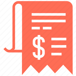 bill, change, document, financial, paper, receipt, transcript icon