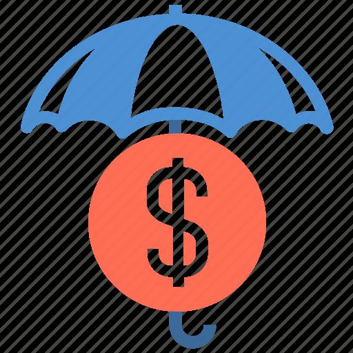 dollar, financial, insurance, money, protection, security, umbrella icon