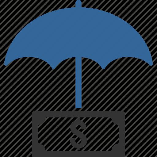 dollar, finance, financial, guard, insurance, protection, umbrella icon