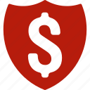 financial, guard, insurance, protection, safety, security, shield icon