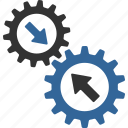 automatic connection, business tools, connect gears, gear, integration process, link, system settings icon